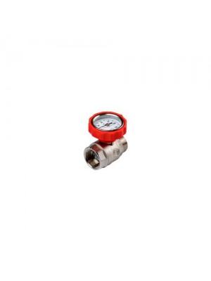 """Шаровой кран с термометром. Размер/Цвет  Rp 1"""" × R 1"""" / красный"""