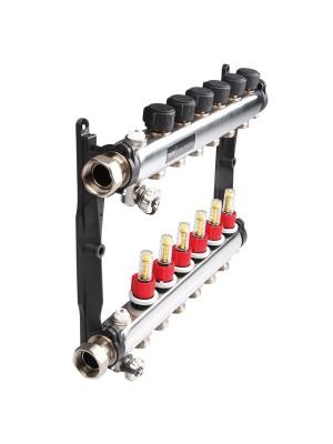 Коллектор стальной для поверхностного отопления в сборе. Тип: 5 контуров