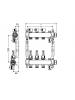 Коллектор стальной для поверхностного отопления в сборе. Тип: 6 контуров