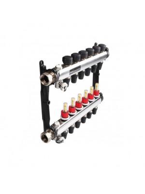 Коллектор стальной для поверхностного отопления с соед. push-fit тип TECElogo в сборе Тип:7 контуров